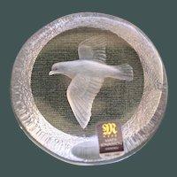 Mats Jonasson Dove Full Lead Paperweight, Original Paper Label, Sweden