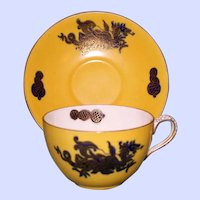 Antique Lemon Yellow Masons Cup and Saucer with Dragon Pattern