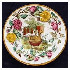 """Wedgwood Etruria England Antique """"Tea Rose""""  Plate Featuring Geese, 10 Inches"""