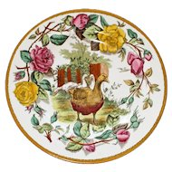 "Wedgwood Etruria England Antique ""Tea Rose""  Plate Featuring Geese, 10 Inches"