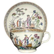 "c. 1870 Edge  Malkin  Polychrome Luster Chinoiserie Cup and Saucer in ""Chang"" Pattern"