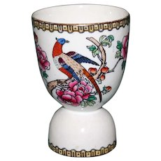 Antique Double Egg Cup with Exotic Bird on Flowering Branch