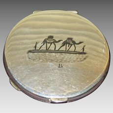 Vintage Silver Plate Compact Camel and Boat Scenes