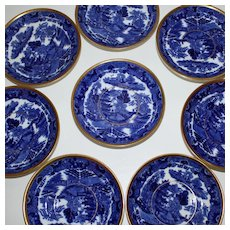 Set of 8 Small Antique BlueWillow Variation Plates