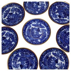 Small Blue and Gilt Plates