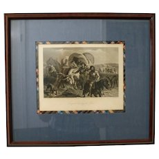"1869 Antique Steel Engraving, ""Emigrant Crossing the Plains"", D. Appleton & Co., Framed/Matted"