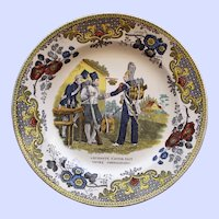 c. 1830 French Creil Faience Plate, Soldiers' Greeting