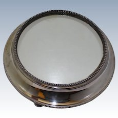 Antique Silverplate English Plateau with Mirror 13 Inches
