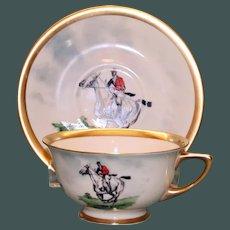 Vintage Equestrian Hunt Cup and Saucer Set Four
