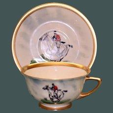 Vintage Equestrian Cup & Saucer Set One