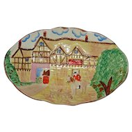 "Hand Painted English Pottery 12"" by 7.5"" Equestrian Platter by Kensington"