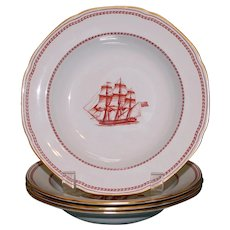 """English Copeland Spode """"Trade Winds"""" Red  Rimmed Soup Bowls, Old Marks"""