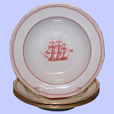 """Copeland Spode """"Trade Winds"""" Red Rimmed Soup Bowls, 8 Inches, Old Marks"""