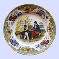 """c. 1830 French Creil Faience Plate, """"Les extremes se touchent"""""""