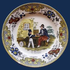 "c. 1830 French Creil Faience Plate, ""Les extremes se touchent"""