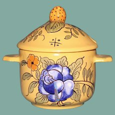 Antique Vieux Montpellier Yellow French Faience Hand Painted Mustard Pot