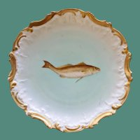 Antique French Limoges 9 Inch Fish Plate by Tressemann & Vogt, No. 4