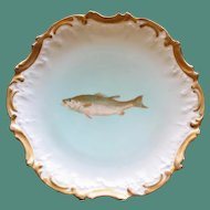Antique French Limoges 9 Inch Fish Plate by Tressemann & Vogt, No. 1