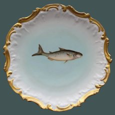 Antique 9 Inch French Limoges Fish Plate by Tressemann and Vogt