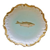 Antique French Limoges 9 Inch Fish Plate by Tressemann & Vogt, No. 3