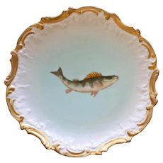 Antique French Limoges 9 Inch Fish Plate by Tressemann & Vogt, No. 2