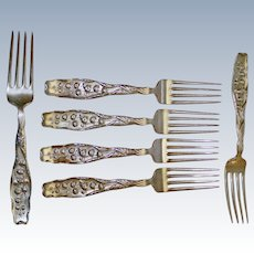 Sterling Dinner Forks in Lily of the Valley by Whiting, Same Monogram, 6 Available