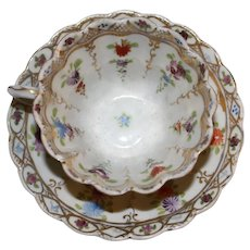 Tea Cup and Saucer with All-over Flower Sprigs