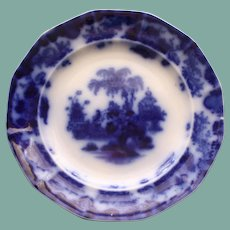 "Antique Alcock Flow Blue Plate ""Scinde"""