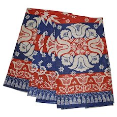 Linen Flower Tea Towel, Red White and Blue
