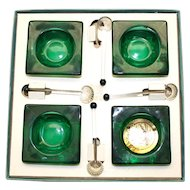 Four Vintage Green Glass Salts  with Glass salt Spoons in Original Box