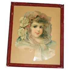 Large Die Cut of Beautiful Child, Rose Velvet Frame