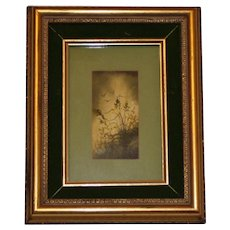 Watercolor of Grasses on a Hill, Framed and Matted