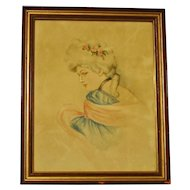 Original Watercolor and Pastel of 18th Century Lady