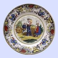 c. 1820 Antique French Faience Creil Plate, Off to War