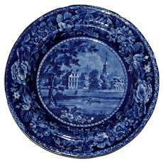 Historical Blue Transferware Plate by Ralph Hall - Fulham Church, Middlesex, c. 1830