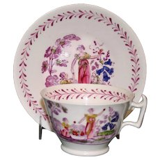 c.1800 Antique Continental Hand Painted Cup & Tea Bowl, Mother & Child Garden Scene
