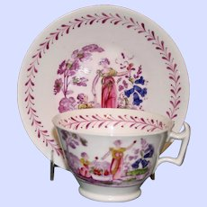 c. 1800 Antique Hand Painted Cup and Tea Bowl, Mother & Child Garden Scene