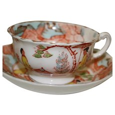 English Porcelain Chinoiserie Cups and Saucers by Taylor & Kent