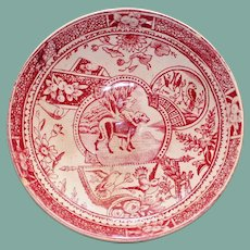 19th Century Red Transferware Staffordshire Tea Bowl with Girl and Dog