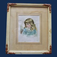 American McLaughlin's Coffee Trade Card of  Beautiful Child, Framed & Matted