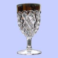 Early American Pattern Glass (EAPG) Goblet, Diamond Pattern