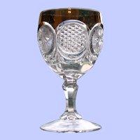 Early American Pattern Glass (EAPG) Goblet, Cane & Star Medallion