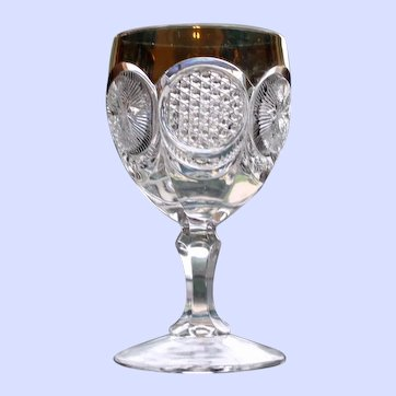 Early American Pattern Glass (EAPG) Goblet, Circle Chain of Sunbursts and Hexagons