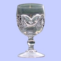 Early American Pattern Glass (EAPG) Goblet, Interlocking Crescents (Double Arch)