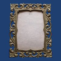 """Antique Brass Rectangular Picture Frame, Reticulated, Opening 4' X 5 1/2"""""""