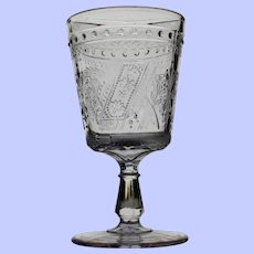 """Good Luck"" Goblet, Early American Pattern Glass"