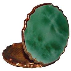 English Stratton Scalloped Green Compact