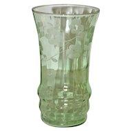 Set of 6 Green Fluorescent Pressed Glass Glasses