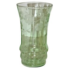 Set of 6 Green Fluorescent Pressed Glass Glasses