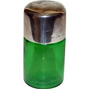 Green English Antique Vanity Jar with Sterling Top 1899